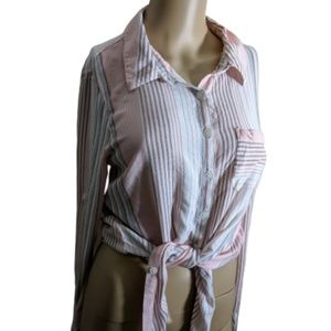 *4 for 20* Ivanka Trump Striped Tie Front Blouse